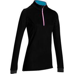 女款羊毛滑雪底層衣XWARM-黑色