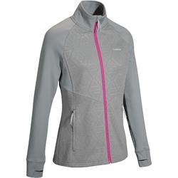 Chaqueta térmica de esquí lana mujer 500 gris rosa