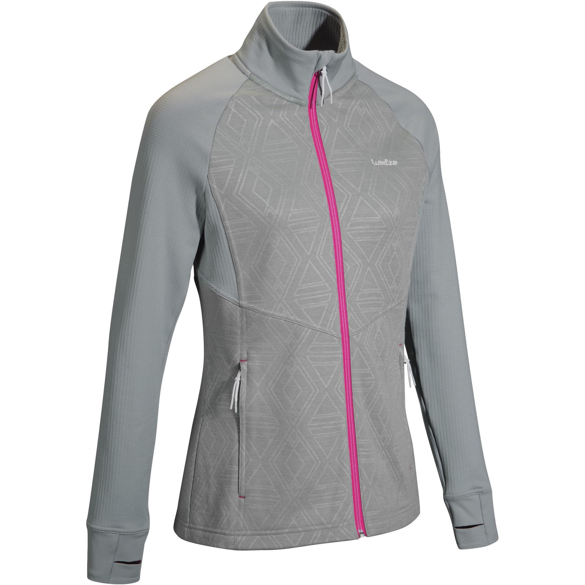 Damen Unterziehjacke Skiunterwäsche 500 Damen grau rosa | 03608449889674