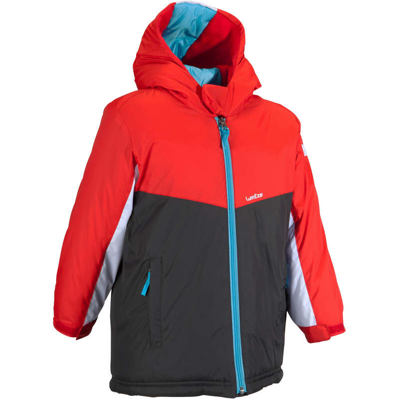 KID BEGINNER ON PISTE SKIING CLOTHS - Firstheat Kids' Ski Jacket - Red, Grey WEDZE