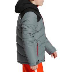 Skijacke Daunen 500 Warm Kinder Jungen grau