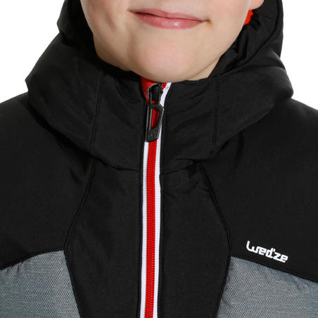CHILDREN'S SKI JACKET WARM 500 - GREY AND BLACK