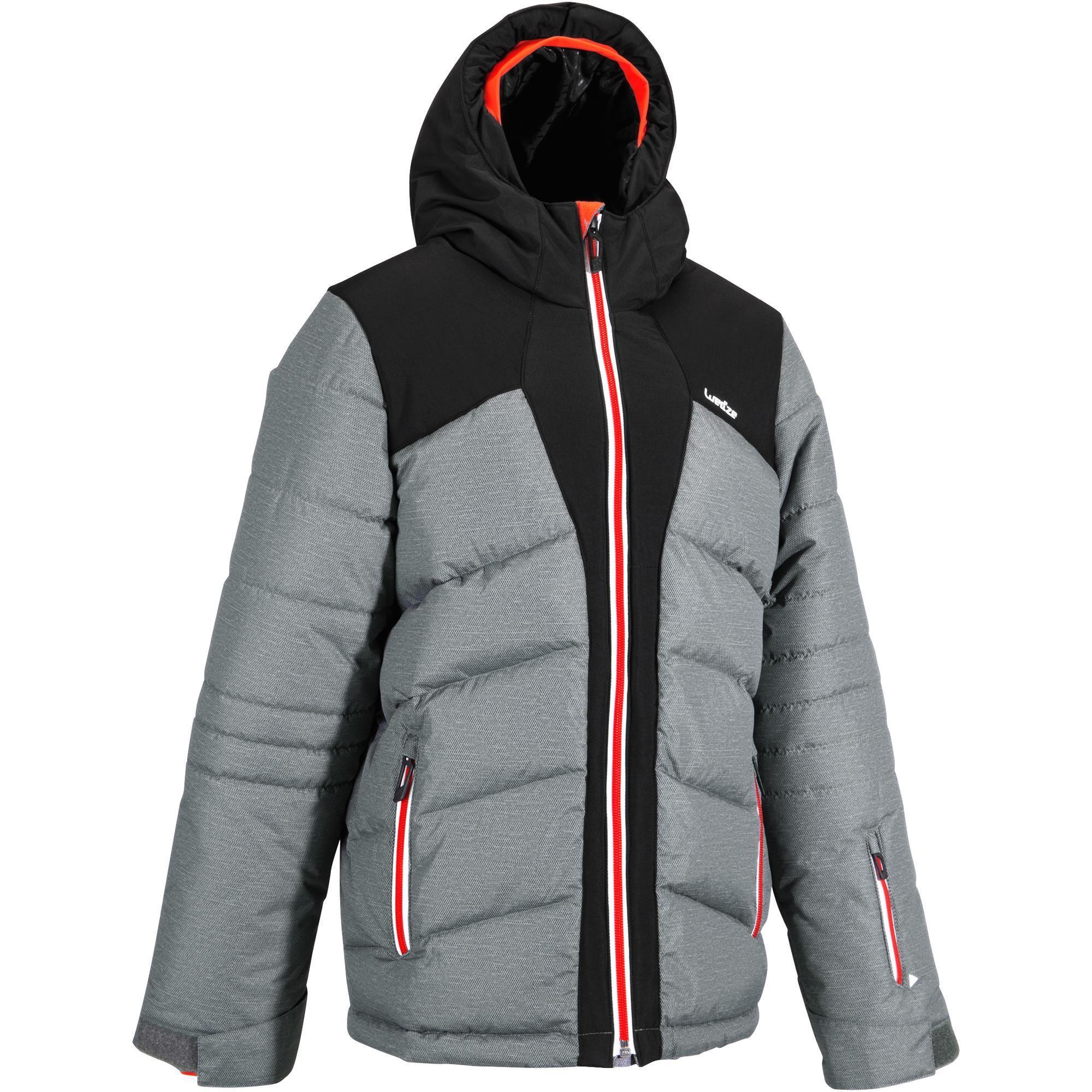 Veste de ski enfant warm 500 grise et noire wedze