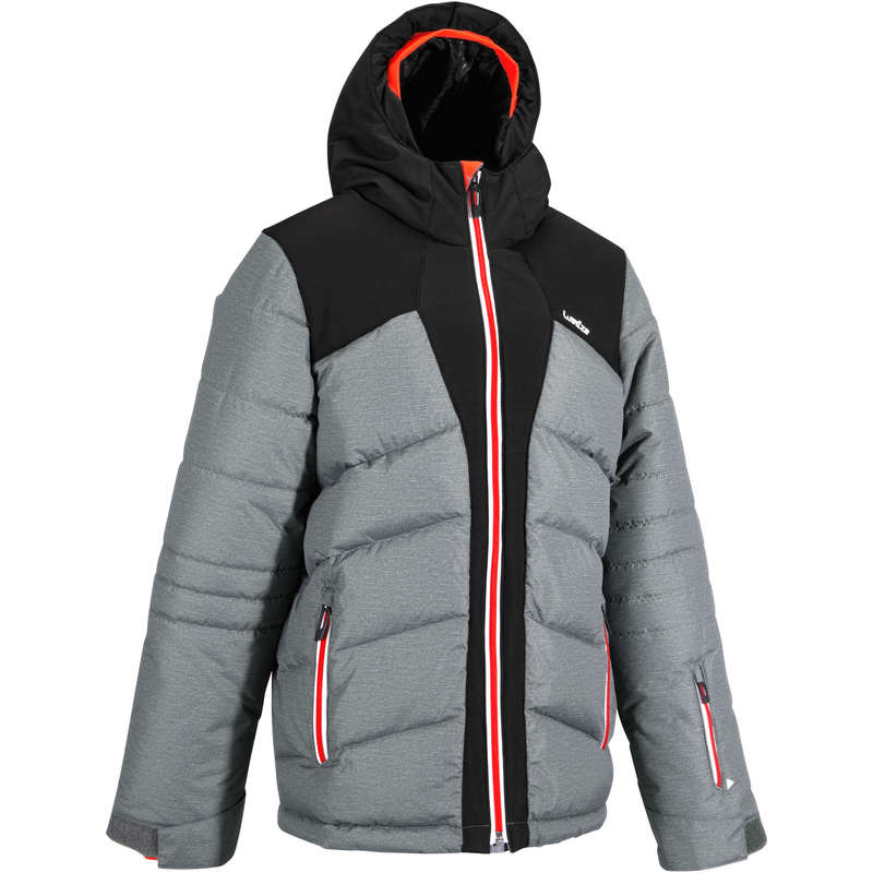 BOY. INTERMEDIATE ON PIST SKIING CLOTHS Clothing - Warm Maxi Boys' Ski Jacket - Grey WEDZE - Coats and Jackets