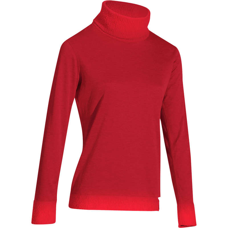 WOMEN SKI BASELAYER & PULL - 2Warm Women's Top - Red WEDZE