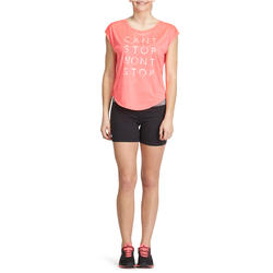 Aansluitende short fitness cardio dames zwart met contrasterende boord ENERGY - 988428