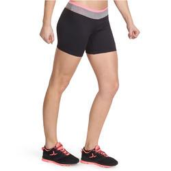 Aansluitende short fitness cardio dames zwart met contrasterende boord ENERGY - 988538
