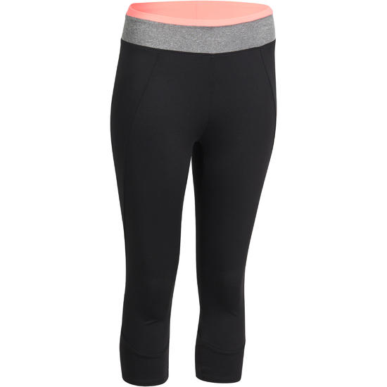 7/8-fitnesslegging cardio Energy dames zwart met contrasterende boord - 988651