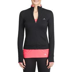 Fitnessvest Energy voor dames, voor cardiotraining, zwart met roze accenten - 988661