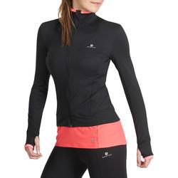 Fitnessvest Energy voor dames, voor cardiotraining, zwart met roze accenten - 988666