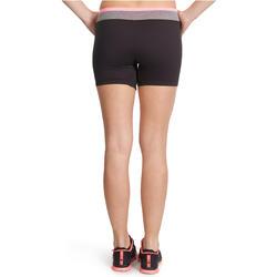 Aansluitende short fitness cardio dames zwart met contrasterende boord ENERGY - 988706