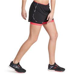 Short 2 in 1 fitness cardio dames zwart/roze Energy+ - 988723