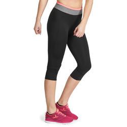 7/8-fitnesslegging cardio Energy dames zwart met contrasterende boord - 988741