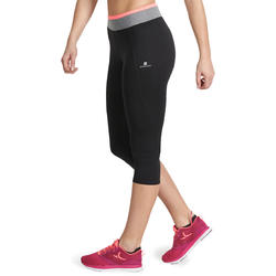 7/8-fitnesslegging cardio Energy dames zwart met contrasterende boord - 988743
