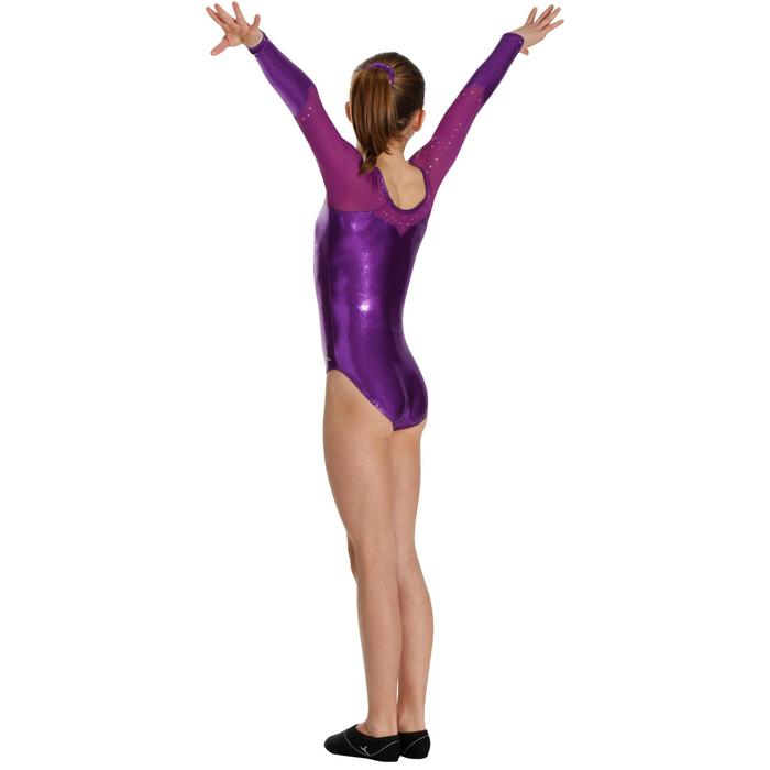 Maillot de manga larga gimnasia niña (GAF) lentejuelas/estrás/gasa violeta