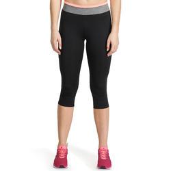7/8-fitnesslegging cardio Energy dames zwart met contrasterende boord - 989371