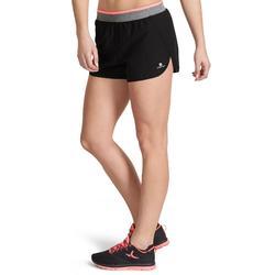 Sporthose kurz 100 Loose Fitness Cardio Damen schwarz