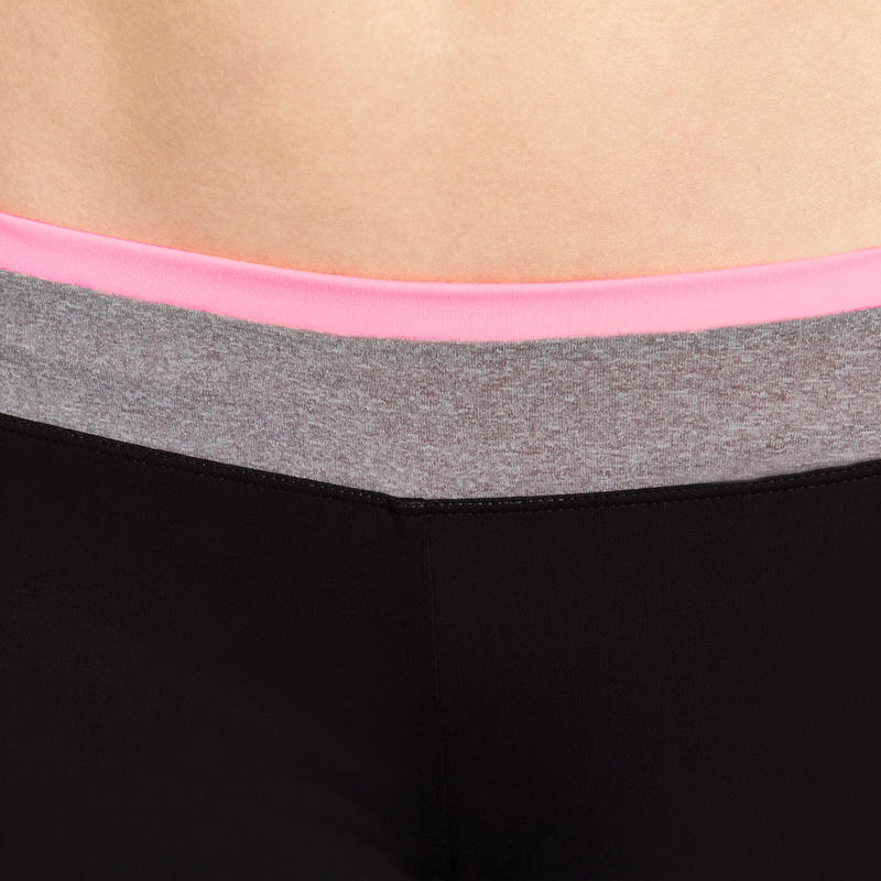 Energy Women's Tight Cardio Fitness Shorts - Black with contrast waistband
