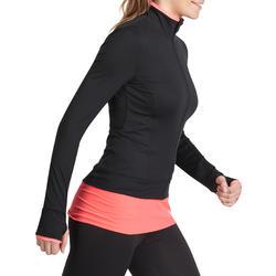 Fitnessvest Energy voor dames, voor cardiotraining, zwart met roze accenten - 989396