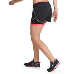 Short 2 in 1 fitness cardio dames zwart/roze Energy+ - 989421