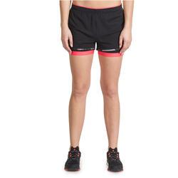 Short 2 in 1 fitness cardio dames zwart/roze Energy+ - 989436