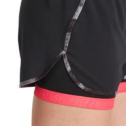 Short 2 in 1 fitness cardio dames zwart/roze Energy+ - 989488