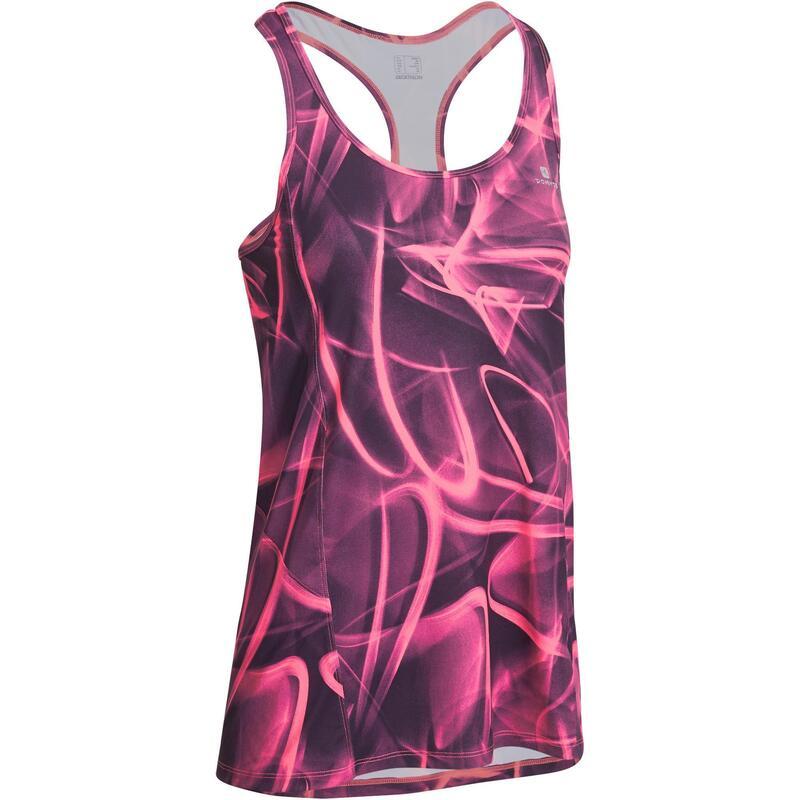Lange fitnesstop Energy voor dames print roze en zwart