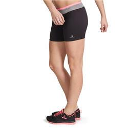Aansluitende short fitness cardio dames zwart met contrasterende boord ENERGY - 989696