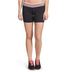 Aansluitende short fitness cardio dames zwart met contrasterende boord ENERGY - 989727