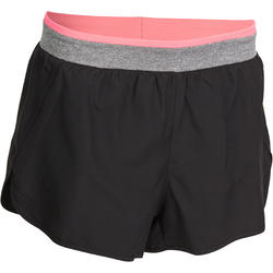Korte short voor fitness cardio dames zwart met band in contrastkleur Energy