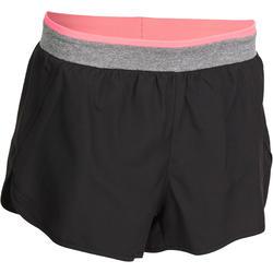 Korte short voor fitness cardio dames zwart met band in contrastkleur Energy