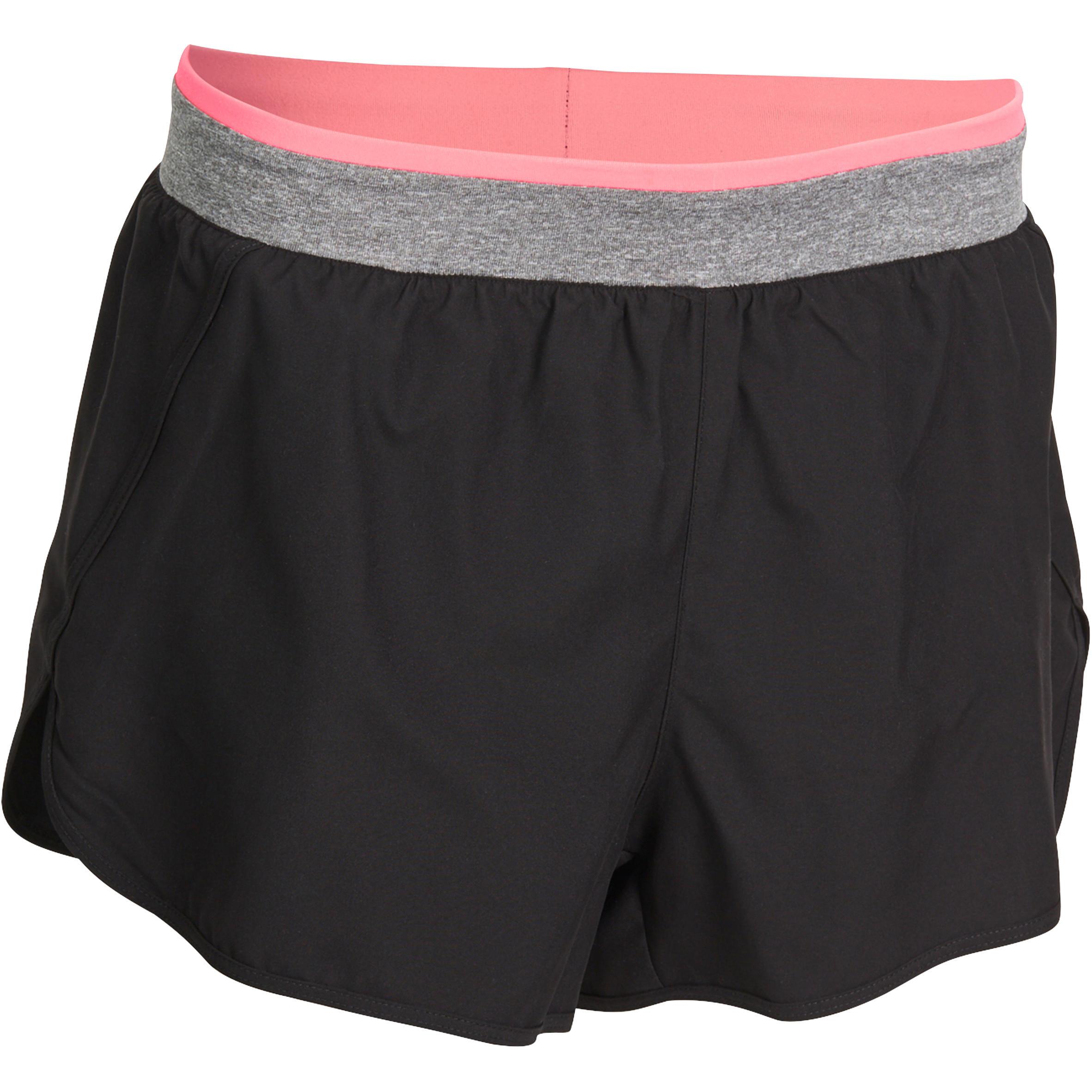 Pantalón corto ENERGY fitness mujer negro cintura a contraste