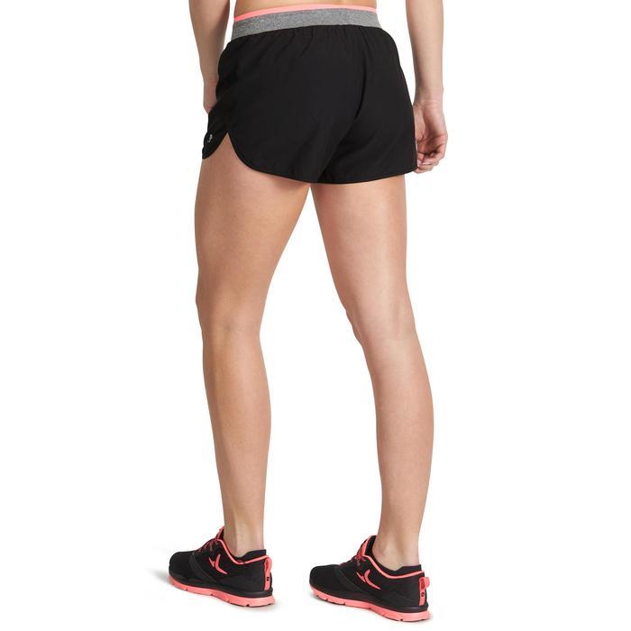 Pantalón Corto Short Deportivo Fitness Cardio Domyos 100 Mujer Negro/Rosa