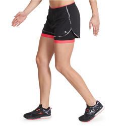 Short 2 in 1 fitness cardio dames zwart/roze Energy+ - 989788