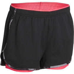 Short 2 in 1 fitness cardio dames zwart/roze Energy+ - 989791
