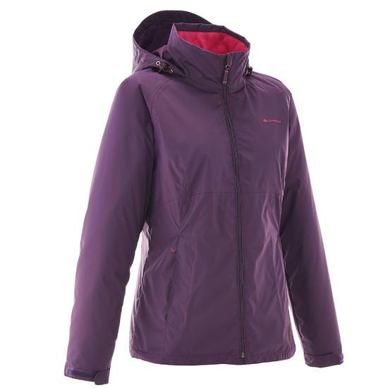 Damesjas voor trekking RainWarm 100 violet - 989846