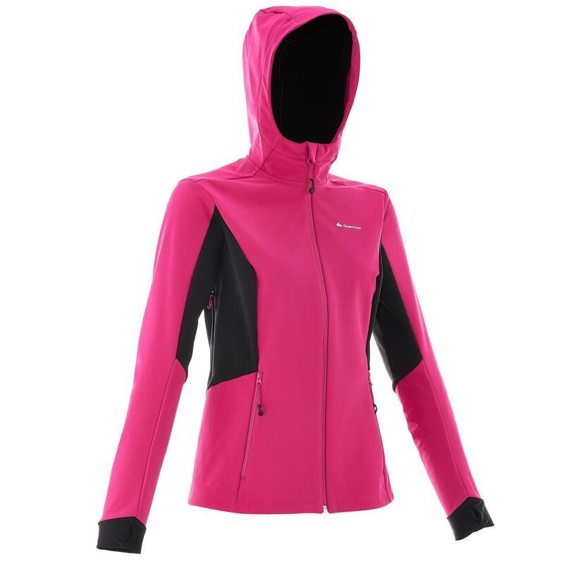 Dames softshell jas WindWarm 500 voor wandelen roze