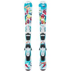 搭配固定器KID 100的兒童下坡雙板滑雪板 - 藍色