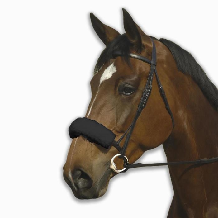 Funda de muserola equitación Fouganza caballo negro piel sensible
