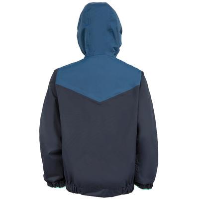 Chaqueta Náutica Cortaviento Capucha Ajustable Niño Dinghy 100 Azul /Verde