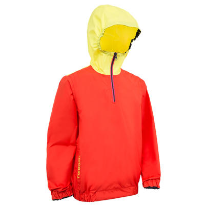 100 Children's Dinghy/Catamaran Windproof Anorak - Red Coral/Yellow