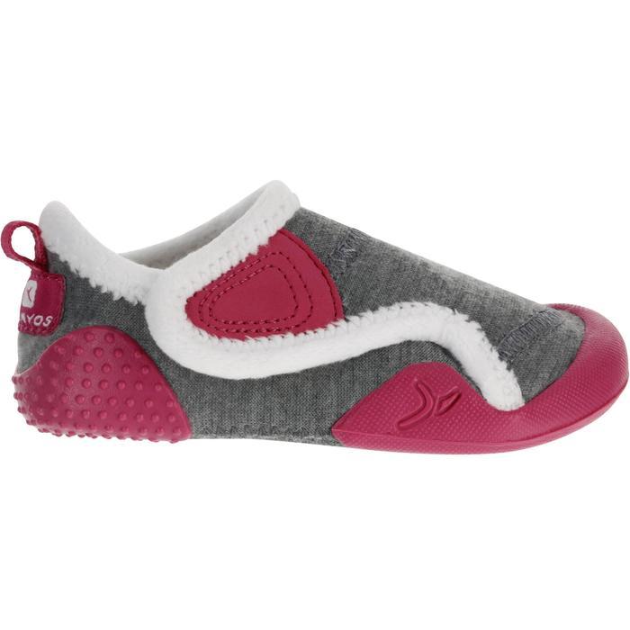 Zapatillas primeros pasos gimnasia infantil BABYLIGHT gris/rosa forro blanco