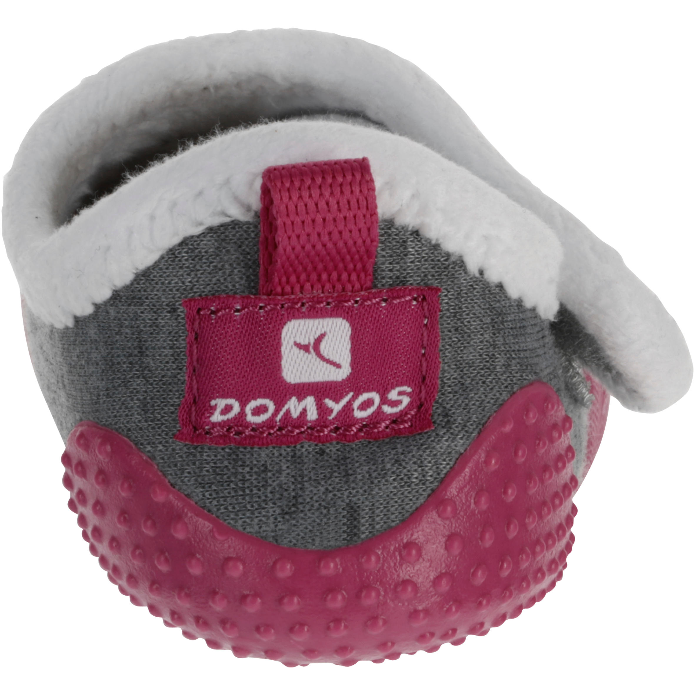 Gymschoentjes Babylight voor kleutergym, gevoerd, grijs-roze
