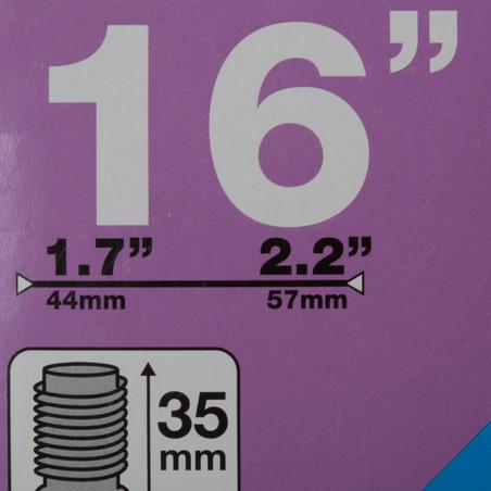 CÁMARA DE AIRE 16 X 1.7/2.2 VÁLVULA SCHRADER DE 35 MM