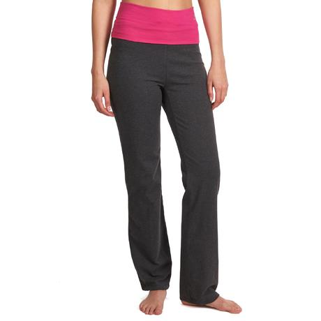 pantalon yoga coton bio femme gris rose domyos by decathlon. Black Bedroom Furniture Sets. Home Design Ideas
