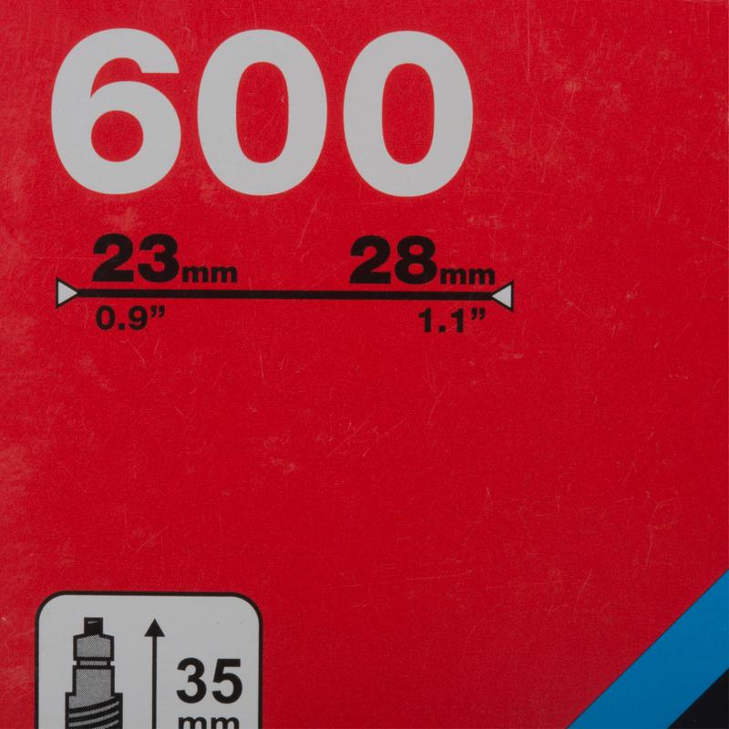 ยางในรุ่น 600x23/28 ขนาด 35 มม. มาพร้อมวาล์ว Presta