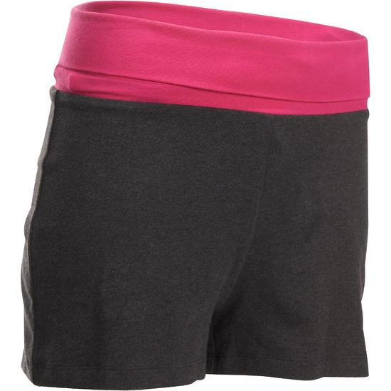 Yogashort in biokatoen voor dames grijs/koraal - 993206