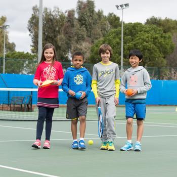 Essential 500 Junior Badminton and Tennis T-Shirt - Navy/Yellow - 995592