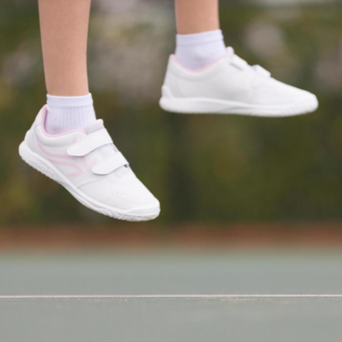Tennisschuhe TS100 Grip Turnschuhe mit Klettverschluss Kinder weiß/rosa