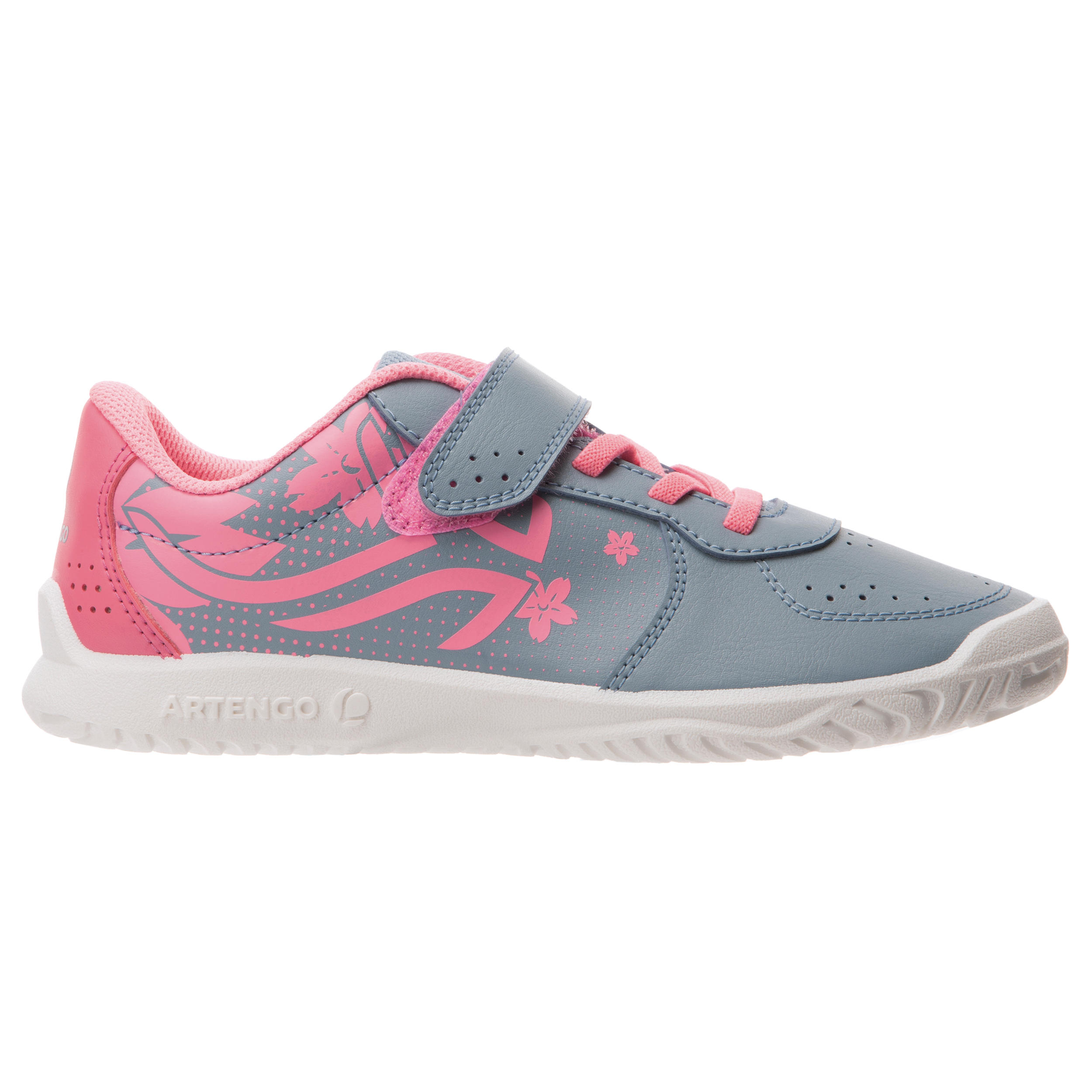 TS130 Kids Tennis Shoes - Grey/Pink